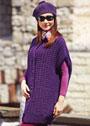 Фиолетовый комплект для межсезонья: удлиненный жилет и берет с помпоном. Спицы
