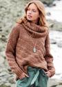 Пуловер с диагональными рельефным полосами, дополненный объемным снудом. Спицы