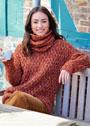 Терракотовый свитер с ромбами и косами, дополненный снудом. Спицы