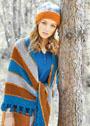 Комплект из теплых аксессуаров: платка в полоску и шапочки с яркой планкой. Спицы