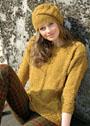 Комплект из твидовой пряжи цвета охры: пуловер и шапка с косами. Спицы