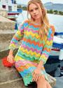 Комплект из пуловера и юбки с зигзагообразным узором. Спицы