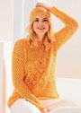 Комплект из пуловера и шапки с сетчатым и ажурным узорами. Спицы
