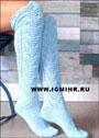 Вязание спицами гольф ажурных носков 74