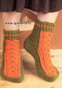 Двухцветные носки с косами. Спицы