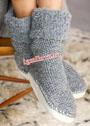 Домашние носки-тапочки на кожаной подошве. Спицы