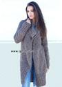 Преграда холоду. Меланжевое пальто с большим воротником. Спицы
