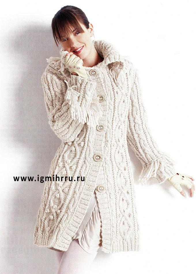 Светло-бежевое пальто с разнообразными косами, от французских дизайнеров BDF. Спицы
