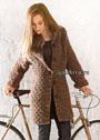 Теплое короткое пальто со структурным узором. Спицы
