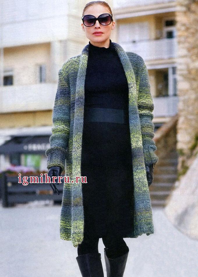 Городской шик! Пальто из меланжевой пряжи с красивыми цветовыми переходами, от финских дизайнеров. Спицы