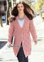 Городской стиль. Розовое пальто с оригинальным ажурным узором с косами. Спицы