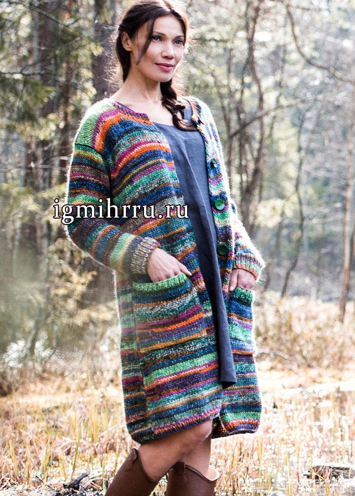 Брызги цвета. Меланжевое пальто с карманами, от финских дизайнеров. Вязание спицами