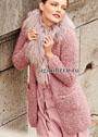 Короткое розовое пальто из плюшевой пряжи. Спицы