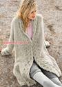 Теплое пальто с широкими планками из кос. Спицы