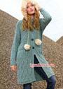Пальто с выразительными арановыми узорами. Спицы
