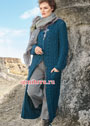 Длинное синее пальто с арановыми узорами и шишечками. Спицы