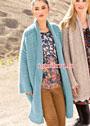 Теплое голубое пальто с карманами. Спицы