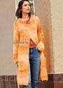 Пальто цвета янтаря, с рукавами реглан и карманами. Спицы