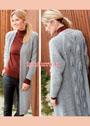 Серое теплое пальто с узорчатой спинкой. Спицы