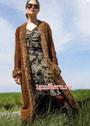 Длинное пальто с пушистыми планками. Спицы