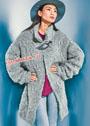 Серое свободное пальто из пряжи с длинным ворсом. Спицы