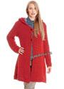 Короткое красное пальто с капюшоном. Спицы