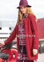 Красное пальто с узором из спущенных петель. Спицы