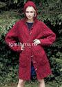 Бордовое шерстяное пальто с капюшоном и карманами. Спицы