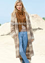 Стиль Скандинавии. Пальто простой вязки, с удлиненной спинкой и карманами. Спицы