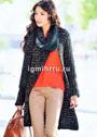 Асимметричное пальто с воротником-шарфом. Спицы