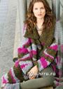 Объемное пальто фантазийной расцветки. Спицы