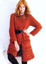 Красное пальто с шашечным узором. Спицы