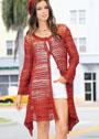 Ажурное летнее пальто красного цвета. Спицы