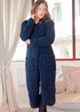 Темно-синее теплое пальто с карманами. Спицы