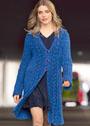 Синее пальто с ажурными бордюрами. Спицы
