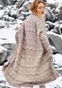 Теплое бежевое пальто с поперечными косами. Спицы