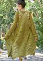 Летнее ажурное пальто оливкового цвета. Спицы