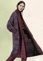 Длинное твидовое пальто с широкими планками и карманами. Спицы