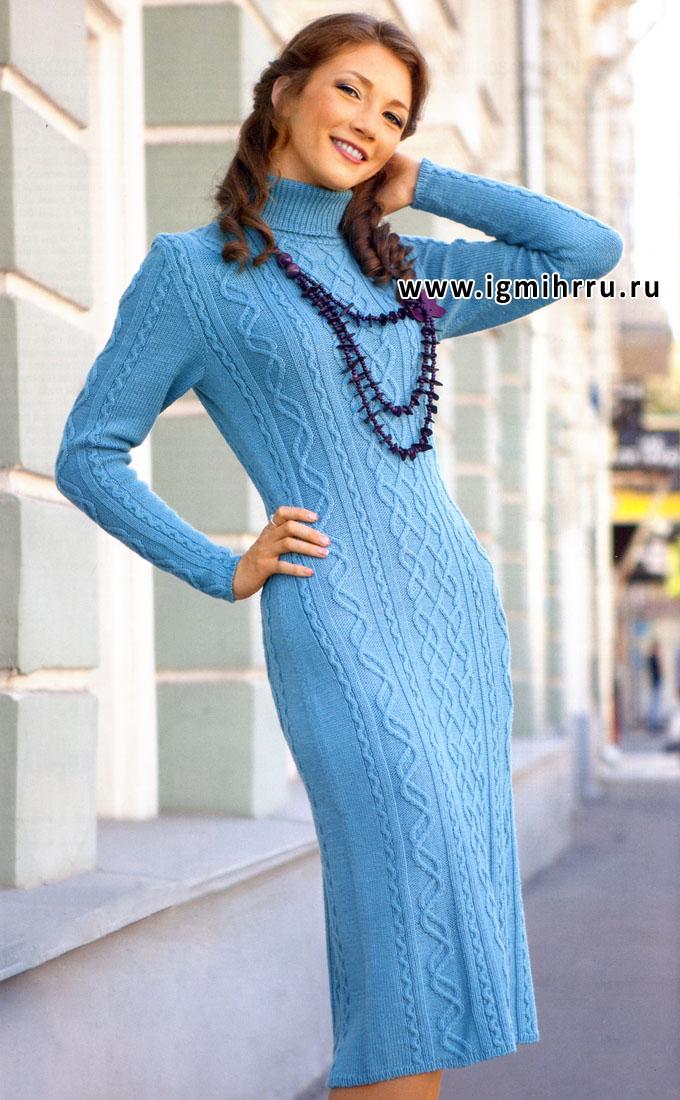 Вязание спицами цветного платья