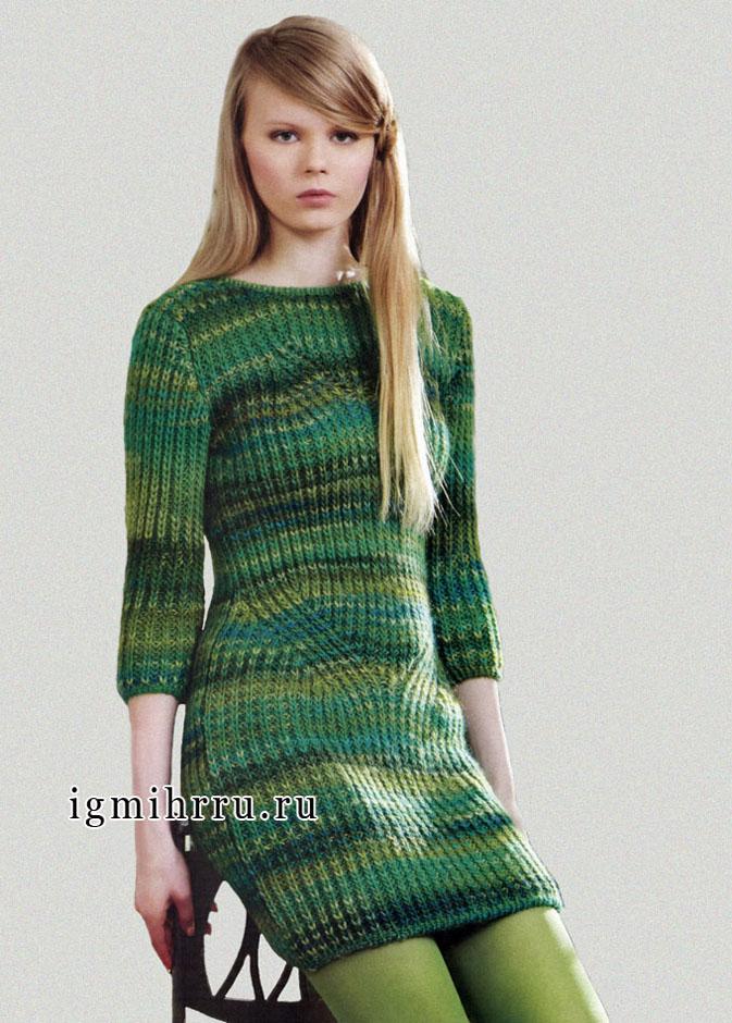 Тепло и удобно! Платье из зеленой меланжевой пряжи, от итальянских дизайнеров. Спицы
