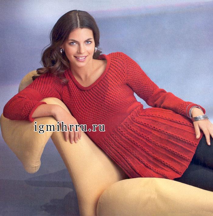 Женственный силуэт и выразительные узоры. Красное узорчатое платье. Спицы