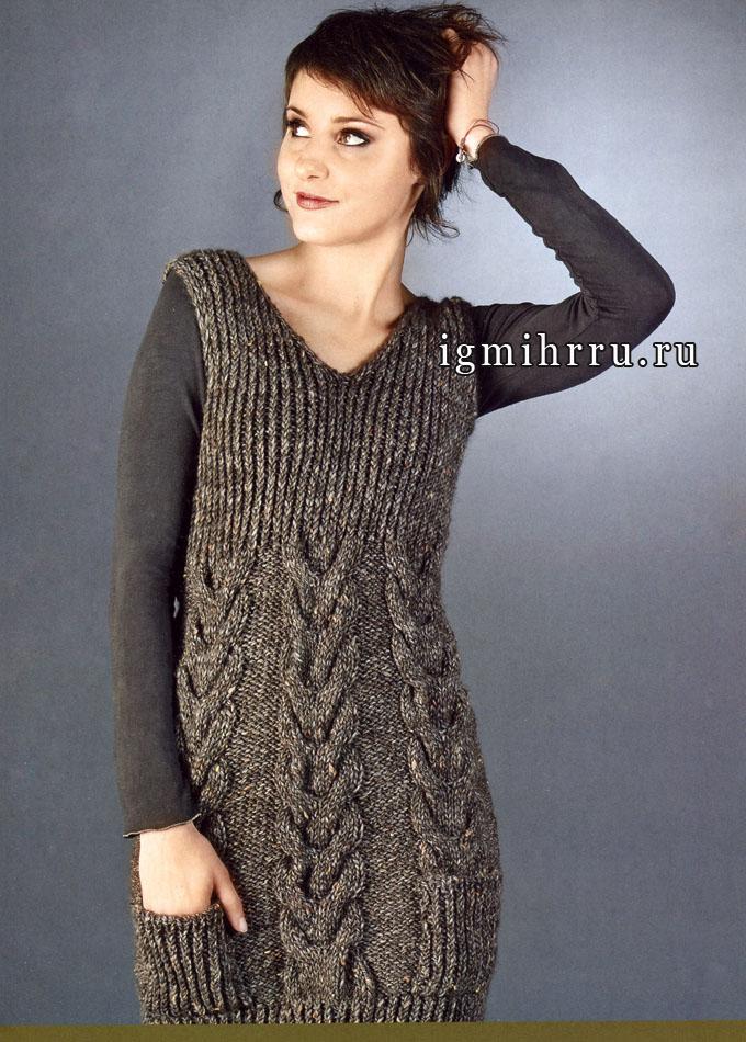 Коричневое меланжевое мини-платье с косами, от итальянских дизайнеров. Спицы