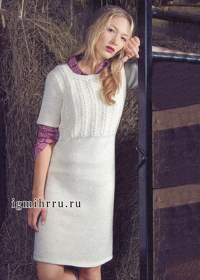 Белое шерстяное платье с рельефной верхней частью и короткими рукавами, от финских дизайнеров. Спицы