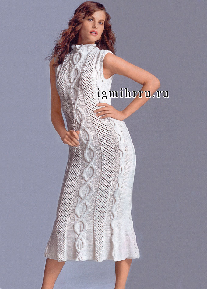 Нарядное белое платье с узорами из «кос и пчелиных сот», от немецких дизайнеров. Спицы