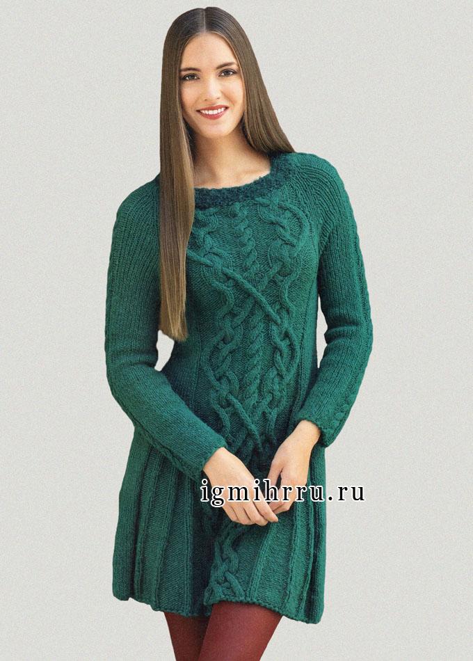 Зеленое шерстяное платье с роскошными ирландскими узорами. Спицы