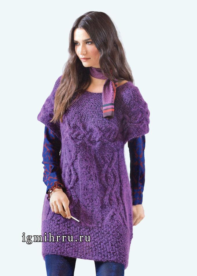 Фиолетовая туника с кокеткой и эффектными узорами, от Bergere de France. Спицы