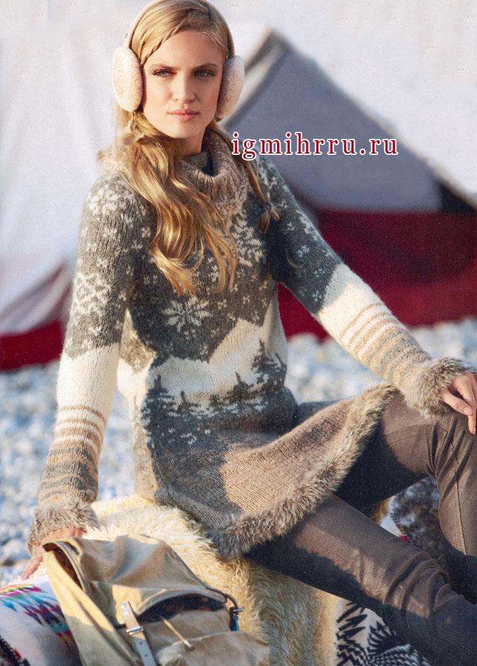 Теплое платье в стиле бохо, с оригинальными жаккардовыми узорами, от Verena. Вязание спицами