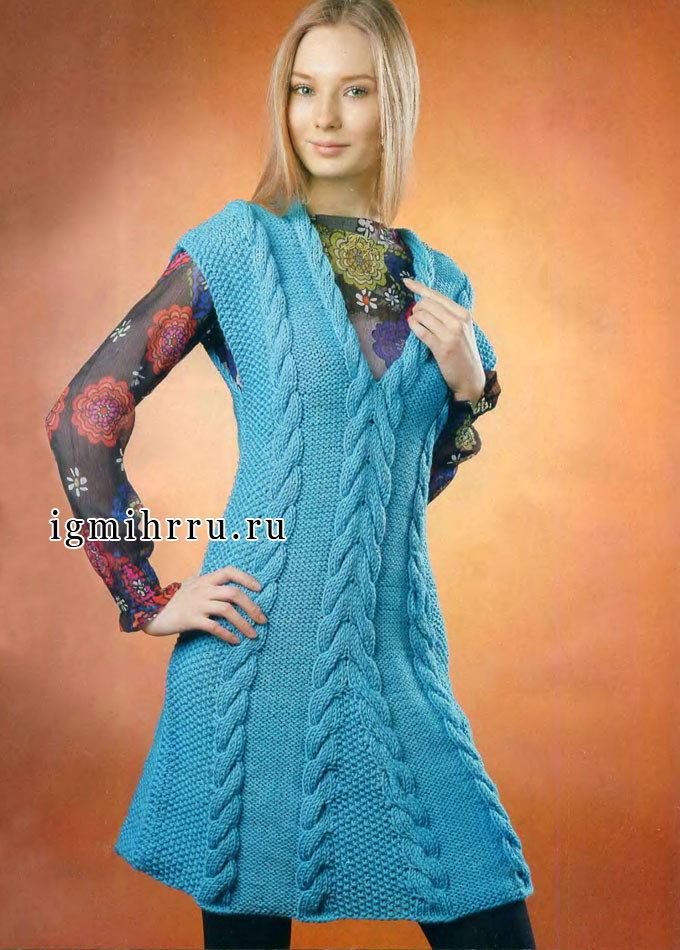 Бирюзовое расклешенное платье-сарафан с косами. Вязание спицами