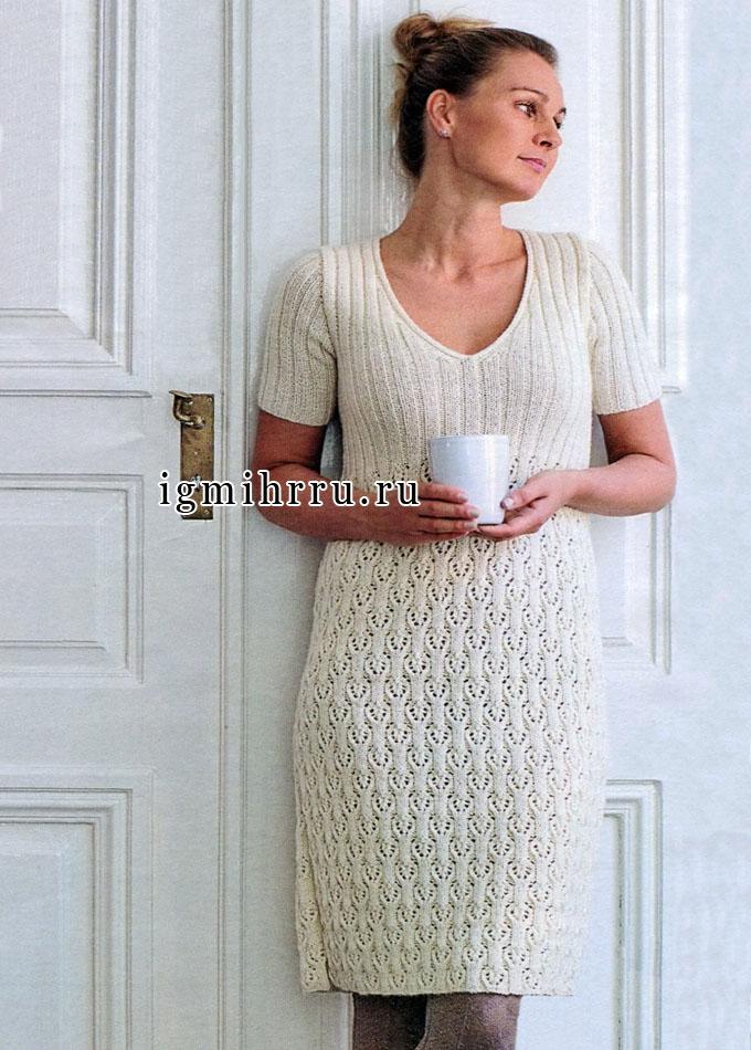 Белое шерстяное платье с красивым ажурным узором, от финских дизайнеров. Вязание спицами