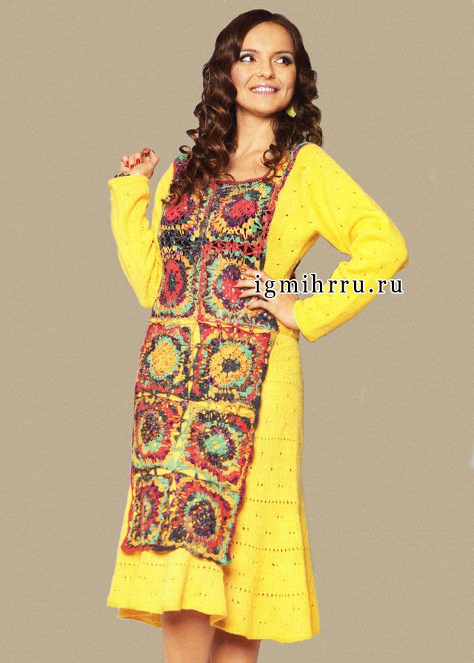 Желтое платье с ажурными дорожками и вставками из ярких квадратов. Вязание спицами и крючком